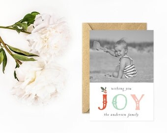 Photo Holiday Card, Joy, Colorful Christmas Card, Personalized Photo Card with Holly Berries