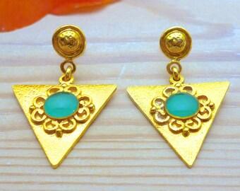 Boho Chic Earrings, Dangle and Drop Earrings, Triangle Earrings, Vintage Style Earrings, Geometric Earrings, Turquoise Earrings, Bohemian