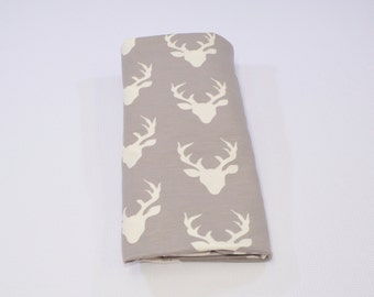 Gray Buck Swaddle Blanket, Girl/Boy Swaddle Blanket, Summer Receiving Blanket, Gray Deer Swaddler, Lightweight Cotton Blanket