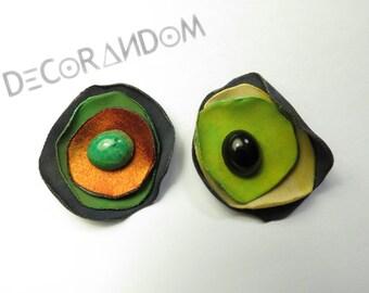 flower, floral earrings, earrings green Orange green Orange, flower, fabric flower, fabric, recycled jewelry earrings, of3