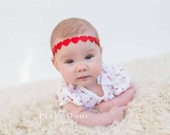 Red Heart Chain Headband. Valentines Headband. Valentine Headband Red Heart Headband,Baby Valentine Headband.Toddler Valentine READY TO SHIP