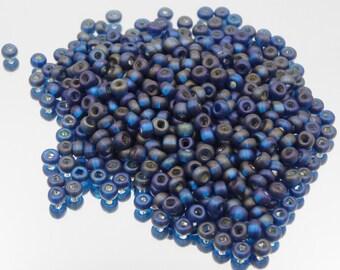 Czech Glass 6/0 Seed Bead Matte Montana Silver Lined    20 Grams