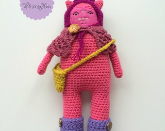 Pink Cat Plush Toy - Crochet/Amigurumi Pink Cat Doll with Accessories - ROMY