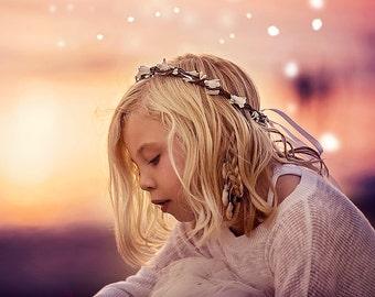 Ivory Floral Crown, Flower Girl Wreath, Boho Floral Crown, Baby Floral Wreath, Childreh Photo Prop, Toddler Crown, Simple Bridal Crown, Halo