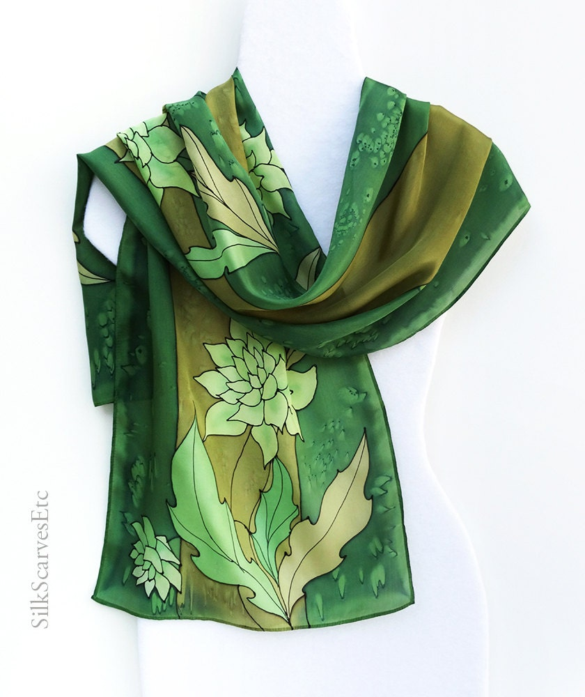 silk scarf green gold silk scarf painted dahlias silk