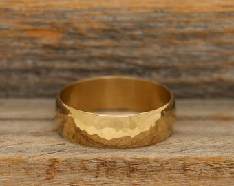 14k Gold Plated Hammered Band