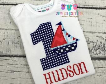 Boy Sailboat Birthday Shirt - Baby Boy Nautical Sailboat Birthday Outfit - Nautical Birthday Shirt - Nautical baby clothes - ANY AGE