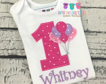 Baby Girl Pink and Purple Birthday Outfit - 1st Birthday Balloon Birthday Outfit - 1st Birthday Shirt