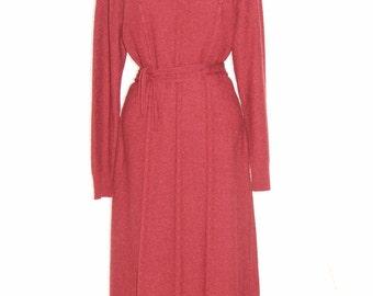 Vintage 1970s High Neck Cerise Pink Knit Slim Fit Dress - TRICOVILLE - Size 16