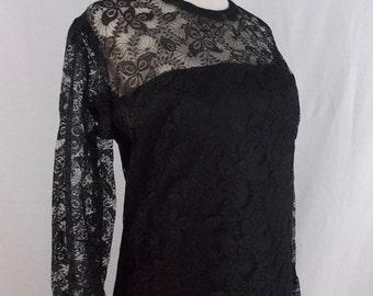 Retro-Style LBD Black Lace Shift Dress Small