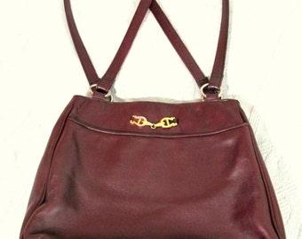 SALE   Vintage Etienne Aigner Oxblood Leather Shoulder Bag Designer Purse A+