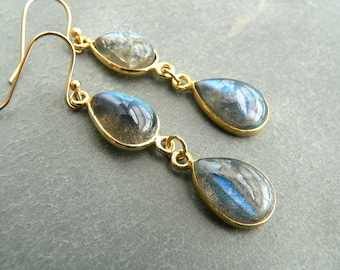 Blue Labradorite Gold Earrings