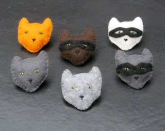 Cat and burglar / ninja cat felt brooch - 6 variations