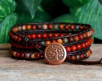 Beaded Leather Triple Wrap, Red Jasper Wrap Bracelet, Red Stone Bead Distressed Brown Leather Bracelet, Red Gemstone Beaded Wrap, Boho Wrap