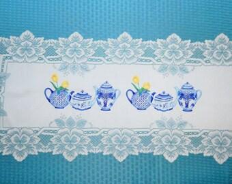 "14"" x 43"" White Lace Table Runner Doily Blue White Delft Tea Pots + Tulips"