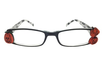 Women's 1.25 Strength Precious Pumpkin Halloween Reading Glasses with Black and Gray Printed Design