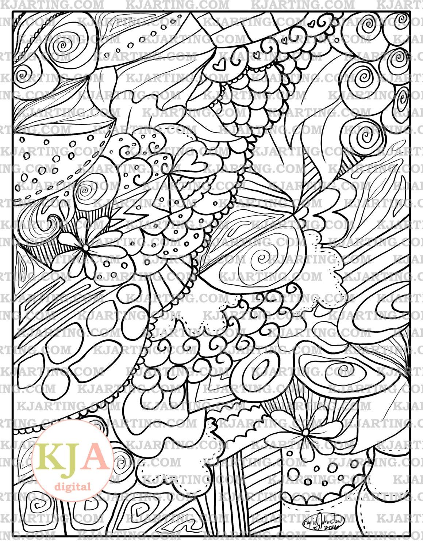 Line Art Zendoodle : Whimsical love zendoodle line art printable zen