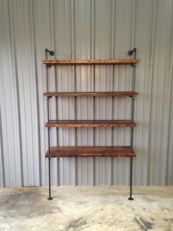 Pipe Shelving - Reclaimed wood bookshelf - Industrial shelving ...