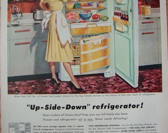 Admiral Refrigerator Ad ~ Up-Side-Down Refrigerator ~ Happy Homemaker ~ Original Magazine Advertising 1950's