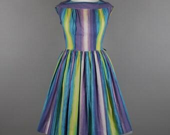 1960s brush stroke stripe vintage dress