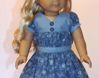1930's Dress for American Girl or Similar 18 inch doll - Blue Floral Print
