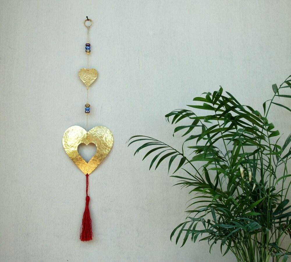 Hanging Heart Wall Decor : Boho metal heart wall hanging brass decor hippie love