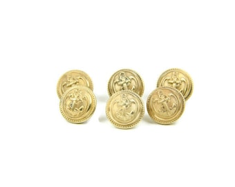Vintage uniform buttons - set of 6 French Navy brass rounded buttons decorated with an anchor