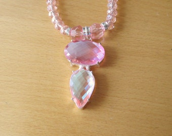 Pink Topaz Necklace, Sterling Silver Pink Topaz Pendant And Glass Crystal Bead Necklace