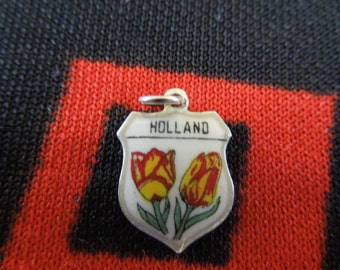 Vintage Enamel Holland The Netherlands Travel Shield With Tulips Silver Charm for Bracelet from Charmhuntress 03106