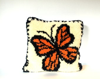 VIntage Hand Made Hooked Orange and Black Butterfly Pillow