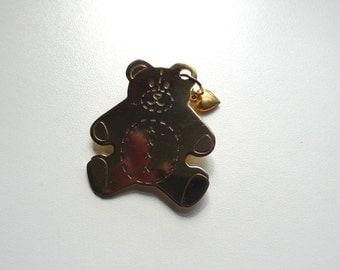 Vintage Solid Brass Teddy Bear Brooch | pin