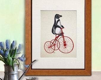 Cute Penguin wall art - penguin on bicycle penguin gift penguin illustration penguin poster whimsical nursery Cute animal art for kids rooms