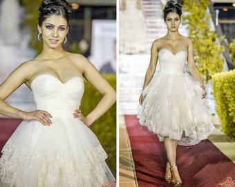 Short Wedding Dress, Simple short lace dress, Short Bridal Gown, Lace Short Gown, Fairy Wedding Dress, Garden and Country wedding dress