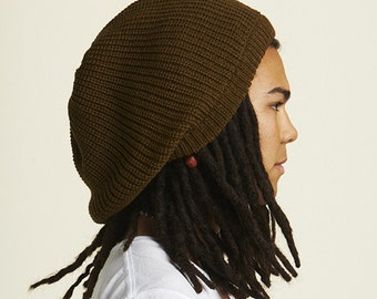 Slouchy beanie hat in light brown M (MD-1012)
