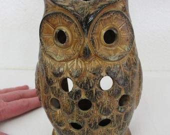 Stoneware Owl Votive Holder Hanging Owl Candle Holder Mid Century Japan
