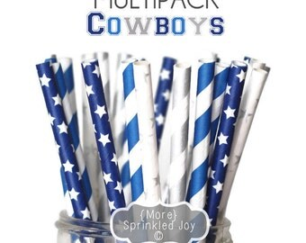 Game Day Dallas Cowboys Straw Multipack, Playoffs, NFL, Superbowl, Party, Football, 2016, Stars, blue, silver, grey