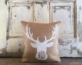 Burlap Pillow - Monogram Deer pillow | Personalized pillow | Deer bust pillow | Woodland nursery | Antler | Lake House, Cabin, Rustic Decor