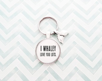I Whaley Love You Lots - Handcrafted Pendant Keychain With Whale Tail Charm