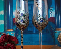 CRYSTAL SET of 2 hand painted wedding champagne flutes Peacock theme wedding glasses