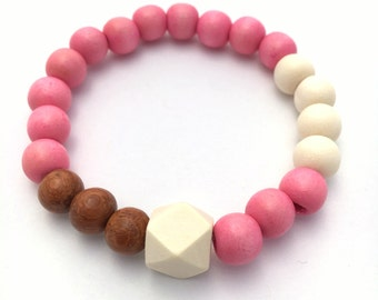 Geometric Wooden Bead Bracelet ~ 8mm Pink, White & Brown Wood Beads ~ 10mm White Geometric Polygon Wood Bead ~ Stretch, custom sizing