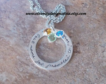 Handstamped Personalized Necklace The best moms get promoted to Grandma/Mother/Grandma/birthstone necklace/