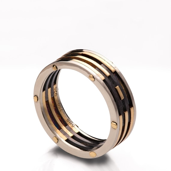 Gold Wedding Band Mens 18K Gold And Oxidized Silver