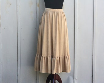 H Bar C Skirt - Vintage Western Skirt - Faux Suede Outlaw Skirt - 60s Squaredance Skirt - Tan Tiered Skirt - 50s Rodeo Cowgirl Skirt - 1950s