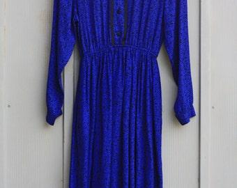 Royal Blue Dress, Long Sleeve Dress, Button Down Dress, Mod Dress, House Dress, Grunge Dress, Maxi Dress, Winter Dress, Hipster Dress, Indie