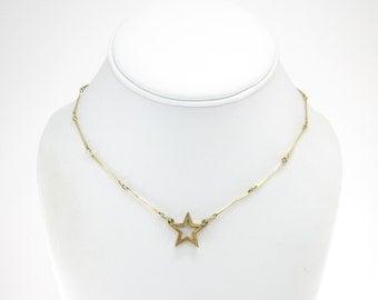 Vintage Star Necklace, Links, Gold Tone
