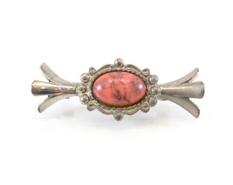 Vintage Pink Marble Brooch, Lucite Cabochon, Silver Tone