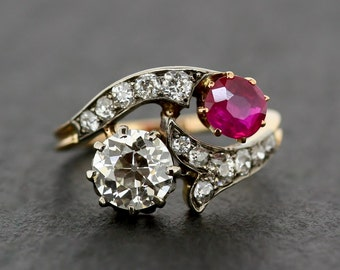 Antique Ruby & Diamond Ring - Edwardian 18ct and Platinum Ruby Engagement Ring