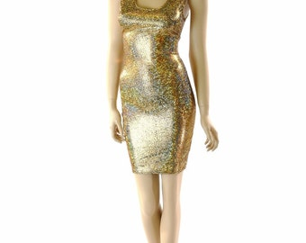 Gold on Black Holographic Shattered Glass Bodycon Tank Dress 152183