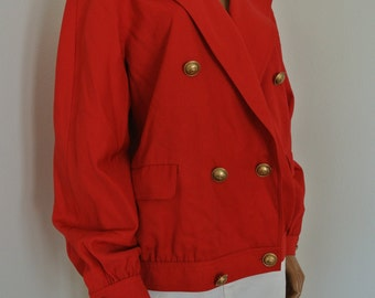 Valentino Jacket Red Wool Logo Crest Buttons Made in Italy Size 48/14