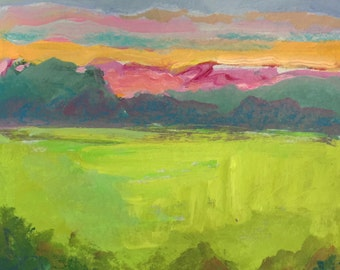 Landscape Painting, Blue Ridge Mountains, Meadow, Clouds, acrylic on paper, gold, green, magenta